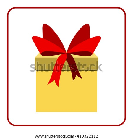 Colorful wrapped gift box icon. Presents decoration Flat design. Christmas surprise with bow isolated on white background. Symbol birthday, anniversary, celebration, happy holiday. Vector illustration - stock vector