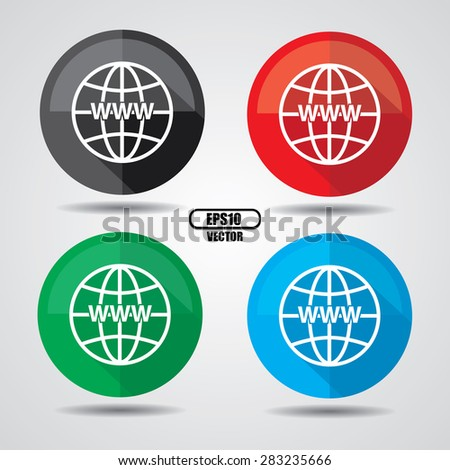 Colorful www icon, Internet sign icon. World wide web symbol on a white background. Vector illustration - stock vector