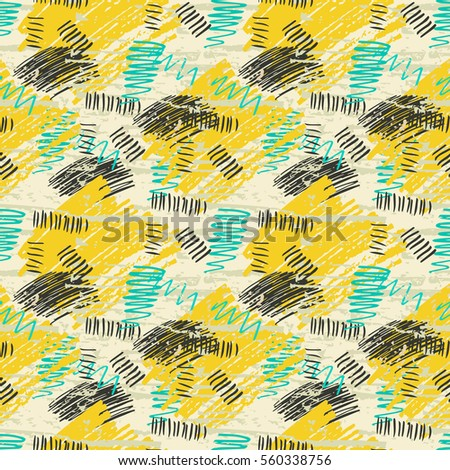 Colorful yellow, blue, beige grunge seamless pattern with abstract hand drawn brush strokes and paint splashes. Messy infinity texture, modern grungy background. Vector illustration.