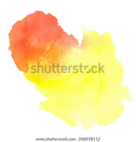 colorful yellow-red watercolor stain with paint blotch