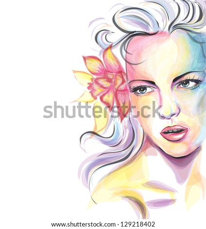 Colorful young woman portrait - stock vector