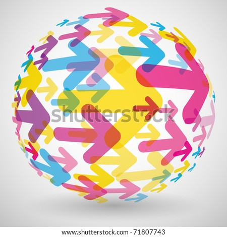 Colorfull arrows background - stock vector