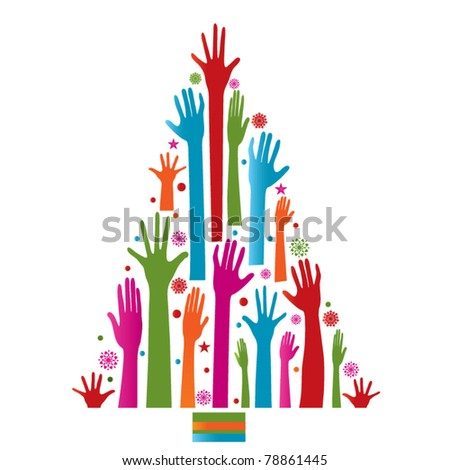 Colorfull Christmas Tree hands - stock vector