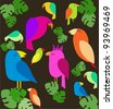 colorfull parrots on trees - stock vector