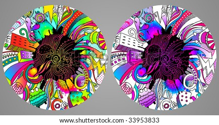 colorfull vector illustration, a lot of graphic elements