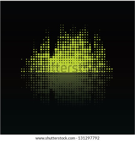 Colorfully music volume with reflection. Little points. Abstract music background - modern design. - stock vector