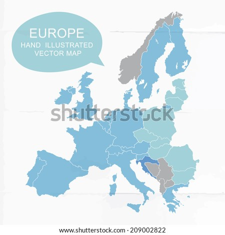 Colorfully vector hand illustrated map of Europe. Detailed political map. - stock vector