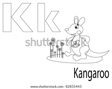 Coloring Alphabet for Kids ,K - stock vector