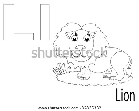 Coloring Alphabet for Kids ,L - stock vector