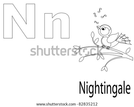 Coloring Alphabet for Kids ,N - stock vector