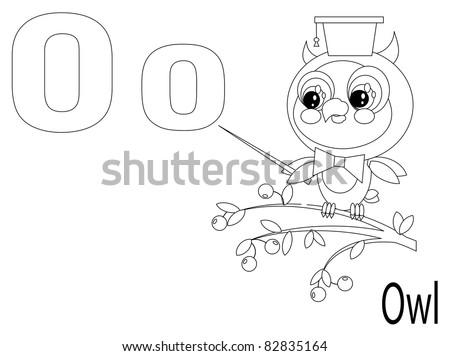 Coloring Alphabet for Kids ,O - stock vector