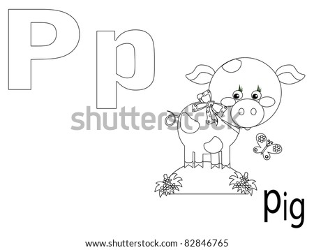Coloring Alphabet for Kids ,P - stock vector