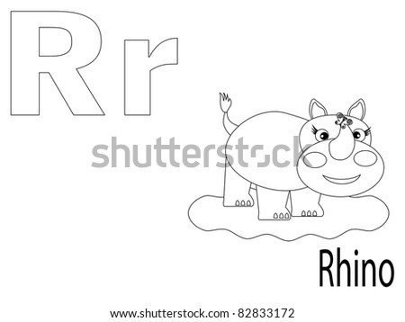 Coloring Alphabet for Kids ,R - stock vector