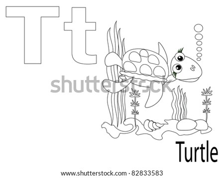 Coloring Alphabet for Kids ,T - stock vector