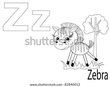 Coloring Alphabet for Kids ,Z - stock vector