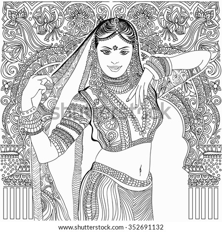 Beautiful indian woman on jungle background stock vector for Girl indian coloring pages