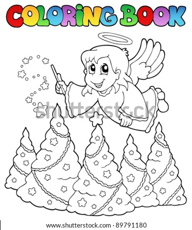 Coloring book angel theme image 2 - vector illustration. - stock vector