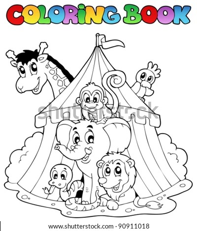 Coloring book animals in tent - vector illustration. - stock vector