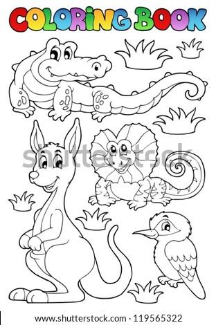 Coloring book Australian fauna 2 - vector illustration. - stock vector