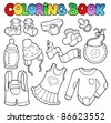 Coloring book baby clothes - vector illustration. - stock vector