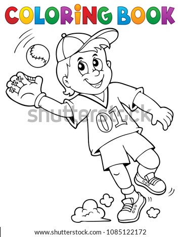Coloring book baseball player theme 1 - eps10 vector illustration.