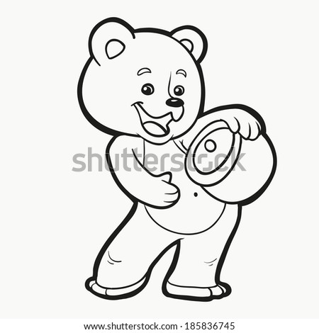 Coloring Book Bear Stock Vector (Royalty Free) 185836745 - Shutterstock