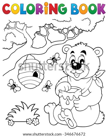 Coloring book bear theme 1 - eps10 vector illustration. - stock vector