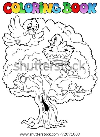 Coloring book big tree with birds - vector illustration. - stock vector