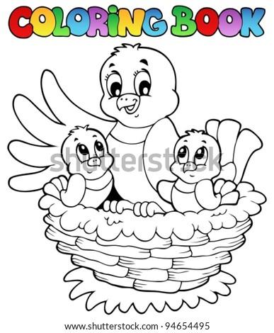 Coloring book bird theme 1 - vector illustration. - stock vector