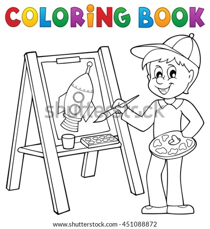 Coloring book boy painting on canvas - eps10 vector illustration.