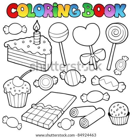 Coloring book candy and cakes - vector illustration. - stock vector