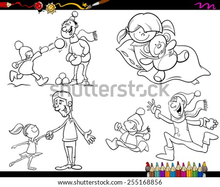 Coloring Book Cartoon Vector Illustration of  Set of Fathers with Children Characters Set - stock vector