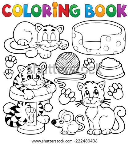 Coloring book cat theme collection - eps10 vector illustration. - stock vector
