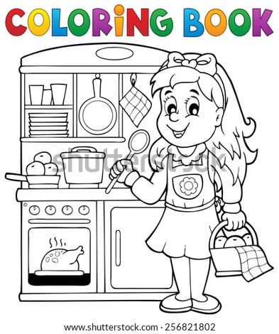 Coloring book child playing theme 1 - eps10 vector illustration. - stock vector