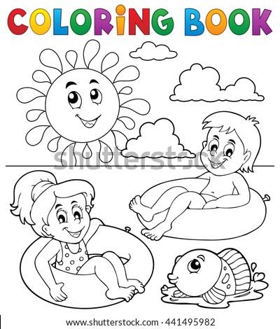 Coloring book children in swim rings 1 - eps10 vector illustration. - stock vector