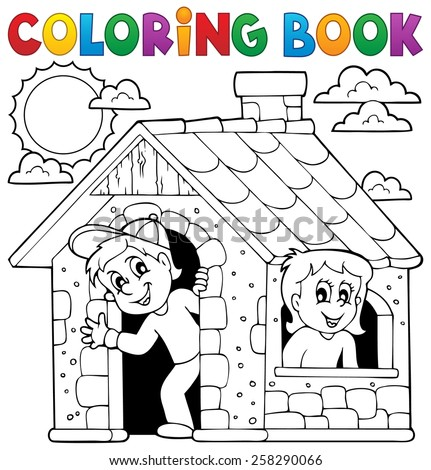 Coloring book children playing in house - eps10 vector illustration. - stock vector