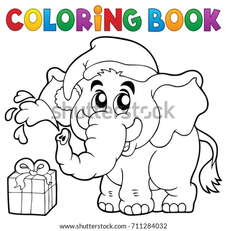 Coloring book Christmas elephant - eps10 vector illustration.