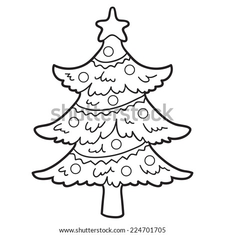 Coloring Book Christmas Tree Stock Vector (Royalty Free) 224701705 ...