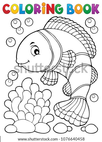 Coloring book clownfish topic 1 - eps10 vector illustration.