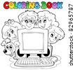 Coloring book computer and kids - vector illustration. - stock vector