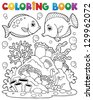 Coloring book coral reef theme 1 - vector illustration. - stock photo