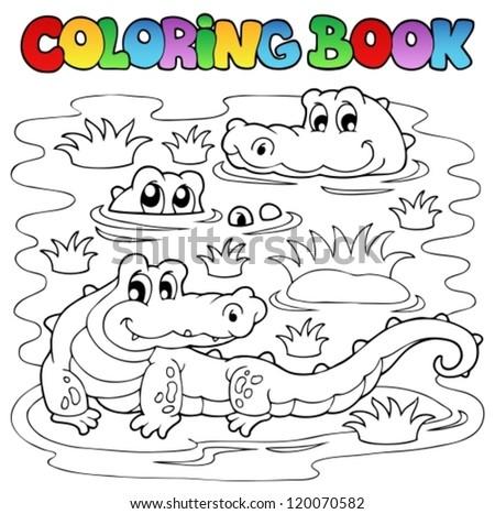 Coloring book crocodile image 1 - vector illustration. - stock vector
