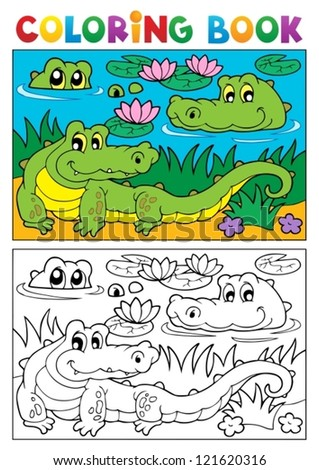 Coloring book crocodile image 2 - vector illustration. - stock vector