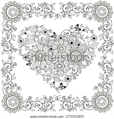 Coloring Book Decorative Heart Flowers Butterflies Stock