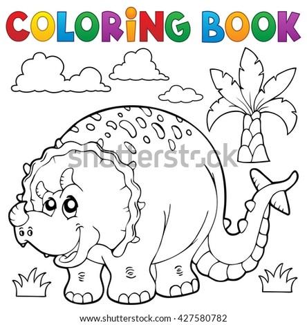 Coloring book dinosaur theme 6 - eps10 vector illustration. - stock vector