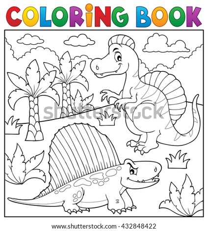 Coloring book dinosaur topic 7 - eps10 vector illustration.