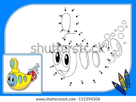 Coloring book dot to dot. Vector illustration of funny yellow submarine - stock vector