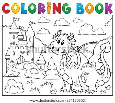 Coloring book dragon near castle theme 1 - eps10 vector illustration. - stock vector