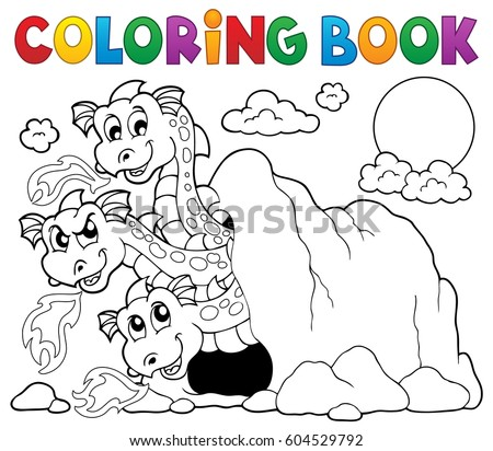 Coloring book dragon theme image 5 - eps10 vector illustration.