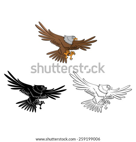 Coloring book Eagle cartoon character - vector illustration .EPS10 - stock vector